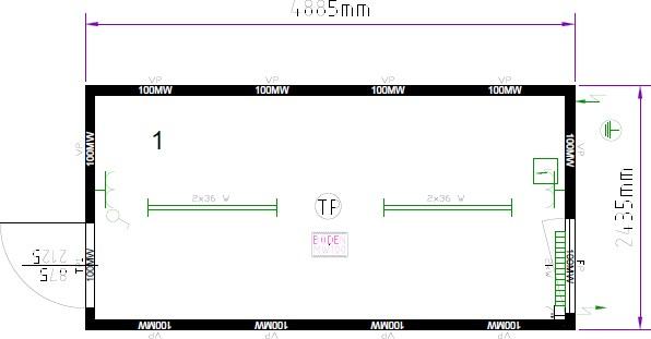 Планировка 16-футовый блок-контейнер CONTAINEX (TP16)